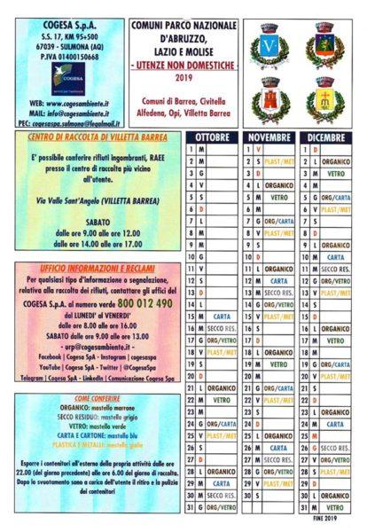 """Calendario Raccolta differenziata """"Porta a Porta"""" Comune di Opi"""